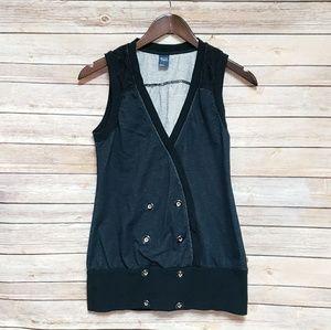 Gentle Fawn Navy Blue Lace Vest, Cute Tops, Vests
